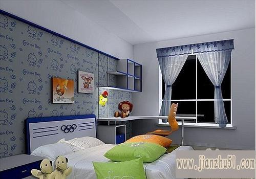 桌面小卧室儿童房装修图:小窗户儿童房装修:小户型房